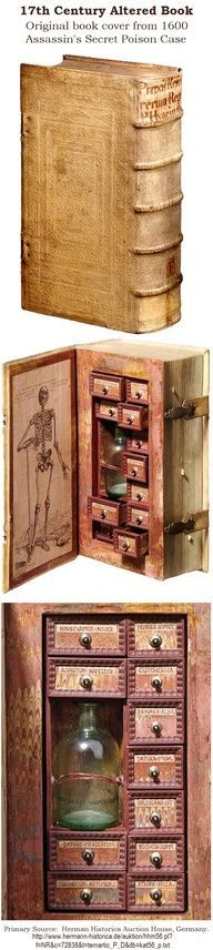 1600's. Original book cover used to create a poison case. Germany.