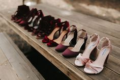 Burgundy + Blush velvet bridesmaid shoes and wedding heels - gothic + Halloween wedding inspiration Outdoor Wedding Shoes, Wedding Shoes Bride, Bride Shoes, Casual Wedding, Dress Wedding, Cute Shoes, Me Too Shoes, Wedding Colors, Decor Wedding