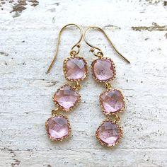 pale peony crystal earrings.