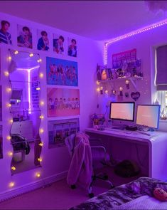 Army Room Decor, Teenage Room Decor, Indie Room Decor, Cute Bedroom Decor, Room Design Bedroom, Cute Bedroom Ideas, Room Ideas Bedroom, Awesome Bedrooms, Neon Room