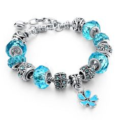 5309c16a1 Silver Glass Beads Bracelet With Blue Crystal European Charms Fit Women F+
