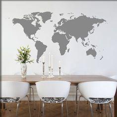 Die Weltkarte als cooles Wandtattoo für Ihre Wand.  Bitte beachten sie bei der Bestellung auf die unterschiedlichen Formate und messen Sie mit einem Lineal oder Zollstock die Dimensionen des...