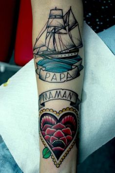 So these category of tattoos are very popular among younger and older ones as well. Here is the list of 35 Most Amazing Nautical Tattoo Designs. Mom Tattoos On Arm, Mum And Dad Tattoos, Side Neck Tattoo, Girl Neck Tattoos, Top Tattoos, Body Art Tattoos, Clock Tattoos, Father Tattoos, Family Tattoos