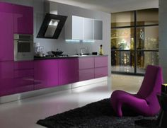 Decoration Ideas. Soulful Kitchen Colors Using Inspiring Paint For Walls And Cabinetry: Ace Modern Furniture Purple Kitchen Colors Acrylic Cabinets And White Tiled Flooring As Well As Purple Unique Chaise Lounge Chairs On Black Rugs As Decorate Modern Galley Kitchen Ideas
