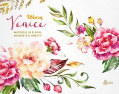 Warm Venice. 54 Watercolor floral Elements popies by OctopusArtis