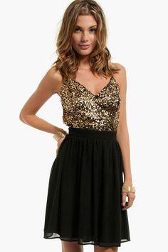 Gold glitter & black dress