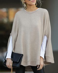 Specification Style Casual Pattern Solid Sleeves Type Bat sleeves Collar Round neck Material Polyester, Cotton Season Fall, Winter Occasion Daily life, Going out, Date Size Bust Length inch cm inch cm S 95 65 M 99 66 L 103 67 XL 107 68 111 69 115 70 Trend Fashion, Estilo Fashion, Fast Fashion, Fashion Outfits, Womens Fashion, Half Sleeves, Types Of Sleeves, Mode Simple, Knitted Poncho