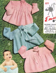 Emu 8486 baby matinee coat  vintage knitting pattern by Ellisadine, £1.00