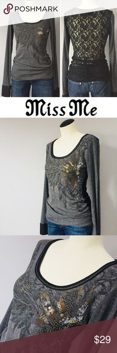 Miss Me😈lace back sequin thermal top Sz M🕸 Miss Me signature style! Sequin, beaded and print embellished mini rib knit long sleeve top with stretch lace back. Have a sexy day and show off your bra (or not 😎) with this sheer lace back Scoopneck top. Grey front with mixed metallic embellishments and black cuffs and back. ✌🏾In GUC  SZ Medium   Bundles are only 2 items! Check out my closet, filter by your size, bundle up and make an offer! There's something for everyone 🌝 Miss Me Tops
