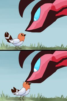 Yveltal and Fletchling.  Aww. Yveltal looks scary but really it's a big softy
