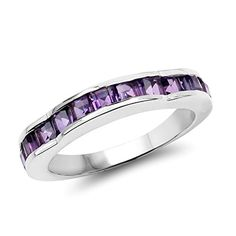 Amethyst Square Channel Set Genuine Sterling Silver Carat Ring Size 6 to 9 Dainty Gold Jewelry, Amethyst Jewelry, Jewelry Rings, Amethyst Gemstone, Birthstone Jewelry, Gold Jewellery, Gemstone Jewelry, Diamond Jewelry, Purple Amethyst