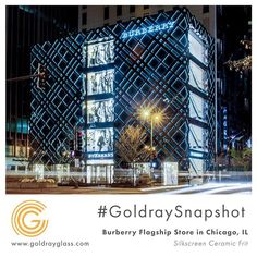 For this project, we had to create an #exterior decorative glass that would be a glowing black facade for #Burberry's iconic checked pattern at night. To achieve this effect, we tried and tested various layers of black ceramic frit using our #silkscreen process until we found the right coverage that would allow the edges of this pattern to stand out. . . . #GoldraySnapshot #architecture #interiordesign #creative #interiordesignstudent #Tuesday #decor #designer #archilovers…