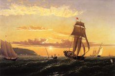 Sunrise on the Bay of Fundy, Oil On Canvas by William Bradford (1590-1657, United Kingdom)