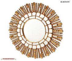 New Wood Wall Mirror 23.6inch Cuzco style 'Sun Medallion' - Mirrors Peruvian Handmade -Decorative Mirror frame is covered with Gold leaf