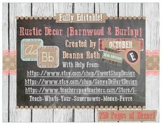 This editable Classroom Decor pack will bring the best of rustic decor into your classroom scheme. Designed with barnwood, burlap, and chalkboard this will give an interesting new twist to your classroom design! This huge pack is 250 pages of Classroom Fun!