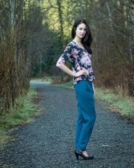 The Camas Blouse in a bold floral.  Featuring a flattering slightly curved hem.