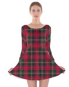 86298f6cf4 CowCow Womens Xmas Check Long Sleeve Skater Dress