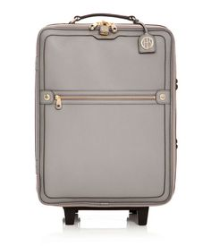 super luxe gorgeous grey + brass roller bag luggage. gimme.