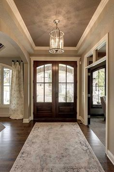 62 ideas farmhouse foyer lighting dream homes for 2019 Dream House Plans, My Dream Home, Dream Homes, Door Design, House Design, Sweet Home, Double Front Doors, Front French Doors, Foyer Lighting