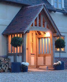 Front door porch extension border oak 51 ideas for 2019 House With Porch, House Front, Building A Porch, Building A House, Sas Entree, Porch Extension, Porch Canopy, Border Oak, Front Door Porch