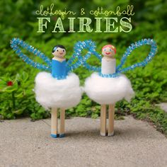 Remind me of fairies or angel ornaments we had on our Christmas tree as kids.  Clothespin and Cottonball Fairies