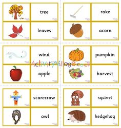 Autumn vocabulary matching cards part of a collection of autumn vocabulary resources The Tiny Seed, Flashcards For Kids, Autumn Activities For Kids, Apple Harvest, Autumn Crafts, Matching Cards, Memory Games, Vocabulary Words, Montessori