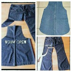 Details about Toddler Baby Kids Girls Cat Denim Jeans Overalls Dress Skirt Clothes For Sewing Aprons, Sewing Clothes, Diy Clothes, Diy Jeans, Adrette Outfits, Preppy Outfits, Cut Shirt Designs, Jean Overall Dress, Denim Crafts