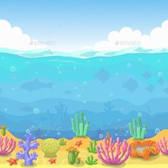 Seamless Underwater Landscape in Cartoon Style by lightgirl Seamless underwater landscape in cartoon style. fish and coral. Vector illustration for game design