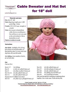 Items similar to Pattern for doll, Cable Sweater and Hat Set, written pattern PDF format on Etsy Boy Doll Clothes, Knitting Dolls Clothes, American Doll Clothes, Crochet Baby Clothes, Knitted Dolls, Knitting Toys, Barbie Clothes Patterns, Doll Dress Patterns, Baby Knitting Patterns