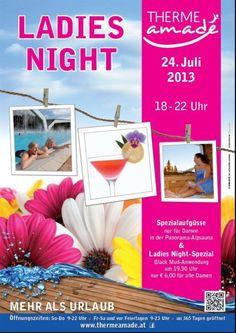 THERME AMADÉ - Ladies Night, Spezialaufgüsse am 24. Juli 2013 in der Panorama-Alpsauna & Ladies Night-Spezia. mit einer Black Mud-Anwendung um nur Euro 6,00 für alle Damen!