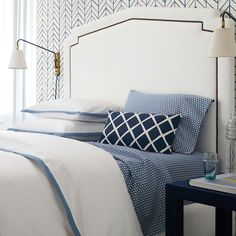 blue + white bedroom, feather wallpaper from Serena  Lily.