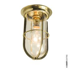 Ship's Companionway Light With Guard 7203 Polished Brass by Davey Lighting Lighting, Front Door Lighting, Ceiling Lights, Vintage Ceiling Lights, Davey Lighting, Nautical Ceiling Light, Lights, Clear Glass, Polished Brass