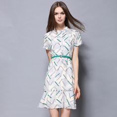 Europe womens business dress summer lady pen print design slim elegant dresses with sashes party formal dress 1222