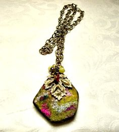 Wool Felt Pendant and Antique Bronze Leaf Pendant by VartJewelry