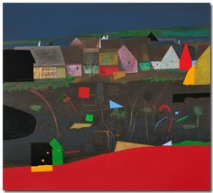 In the border country,Karl Korab. Serigraph printed with lithography, 25 colors on Graphia.