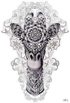 Zentangle inspiration .... Giraffe by BioWorkZ.deviantart.com on @deviantART