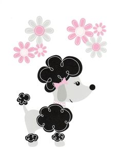 Paris Nursery Art Decor, Kids Wall Art, Baby Girl Nursery, Paris Nursery, Poodle, Dog, Poodles love Flowers, 8x10 Print. $12.00, via Etsy.