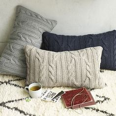 Braided Cable Pillow Covers - also in square. For chairs or sofas around the office? They look yarn-y.