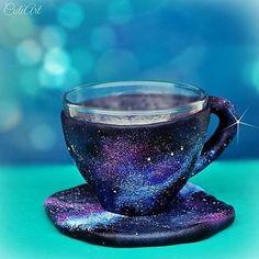 Coffee cup with a night sky... #dnestvorim  #kreativnislovaci  #polymer  #handmade  #galaxy  #nightsky  #universe  #coffeelover  #coffeecup  #coffee #swarovski