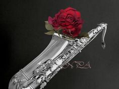 Black and White Saxophone with Red Rose by nicolphotographicart