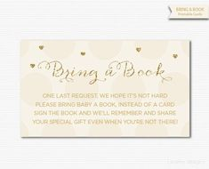 Gold Cream Printable Bring a Book Cards Baby by MarleyDesign