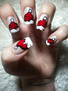 christmas santa hat nails //