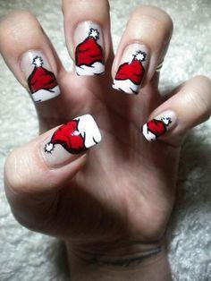 christmas santa hat nails //