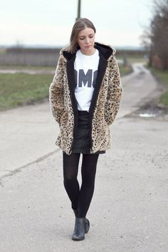 Zara Leopard Coat, Topshop Omg T Shirt, Neon Rose Leather Skirt, H&M Western Boots