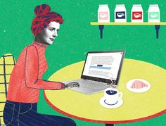 Satellite Office. Illustrated by Natalie Nelson. Represented by i2i Art Inc. #i2iart