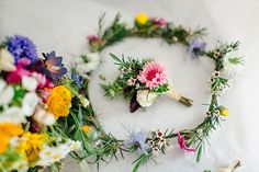 Flower Crown Buttonhole Colourful Woodland Farm Camping Weekend Wedding http://www.frecklephotography.co.uk/