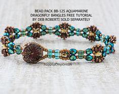 Bead Pack BB-125 Aquamarine Dragonfly Bracelet, Free Tutorial by Deborah Roberti Available Separately, BB125 Aquamarine Dragonfly