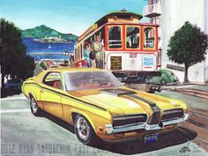 1970 Mercury Cougar In San Francisco (Painting) by FastLaneIllustration.deviantart.com on @deviantART