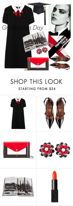 """""""Graduation Day Style"""" by mizzura ❤ liked on Polyvore featuring Miu Miu, daria, RED Valentino, CÉLINE, Miriam Haskell, Assouline Publishing and NARS Cosmetics"""