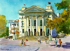 watercolor, Sevastopol, the Palace of Pioneers, Sergey Merkulov